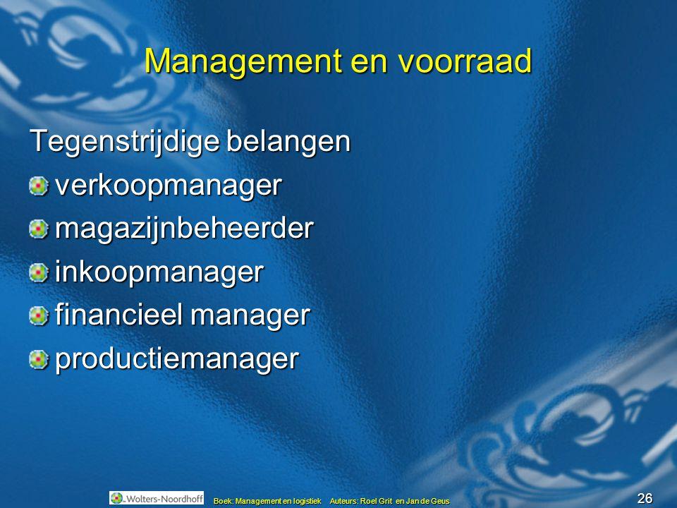 26 Boek: Management en logistiek Auteurs: Roel Grit en Jan de Geus Management en voorraad Tegenstrijdige belangen verkoopmanagermagazijnbeheerderinkoo
