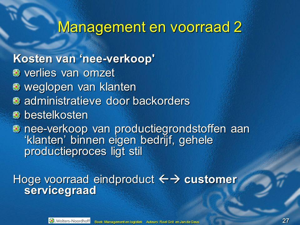 27 Boek: Management en logistiek Auteurs: Roel Grit en Jan de Geus Management en voorraad 2 Kosten van 'nee-verkoop' verlies van omzet weglopen van kl