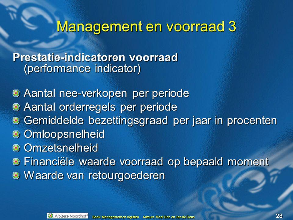28 Boek: Management en logistiek Auteurs: Roel Grit en Jan de Geus Management en voorraad 3 Prestatie-indicatoren voorraad (performance indicator) Aan