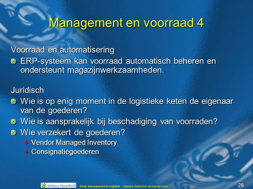 29 Boek: Management en logistiek Auteurs: Roel Grit en Jan de Geus Management en voorraad 4 Voorraad en automatisering ERP-systeem kan voorraad automa