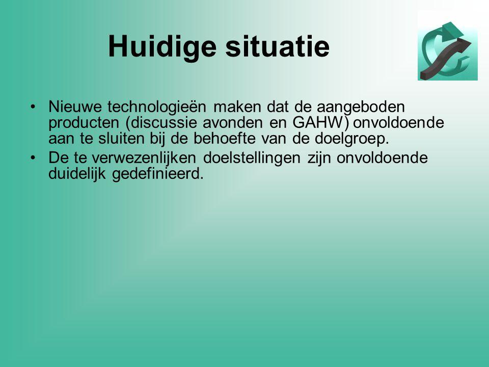 Huidige situatie •Nieuwe technologieën maken dat de aangeboden producten (discussie avonden en GAHW) onvoldoende aan te sluiten bij de behoefte van de doelgroep.