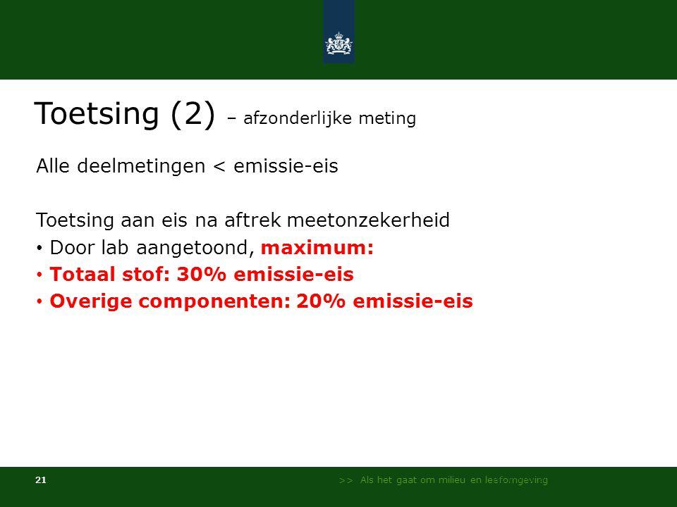 >> Als het gaat om milieu en leefomgeving 21 Toetsing (2) – afzonderlijke meting Alle deelmetingen < emissie-eis Toetsing aan eis na aftrek meetonzekerheid • Door lab aangetoond, maximum: • Totaal stof: 30% emissie-eis • Overige componenten: 20% emissie-eis NL Milieu en Leefomgeving - InfoMil 21