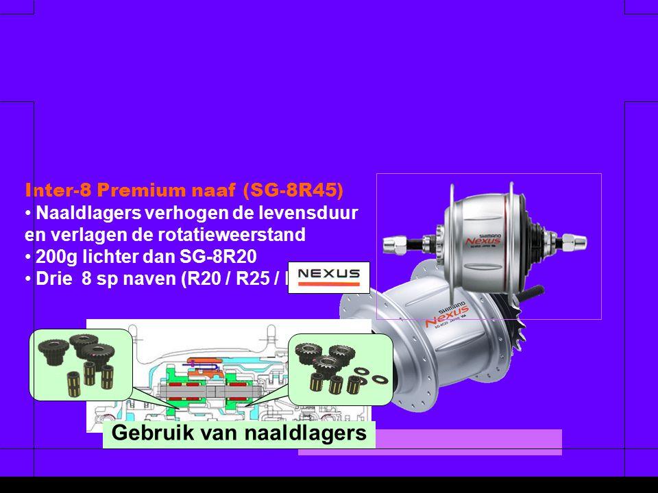 Gebruik van naaldlagers Inter-8 Premium naaf (SG-8R45) • • Naaldlagers verhogen de levensduur en verlagen de rotatieweerstand • • 200g lichter dan SG-