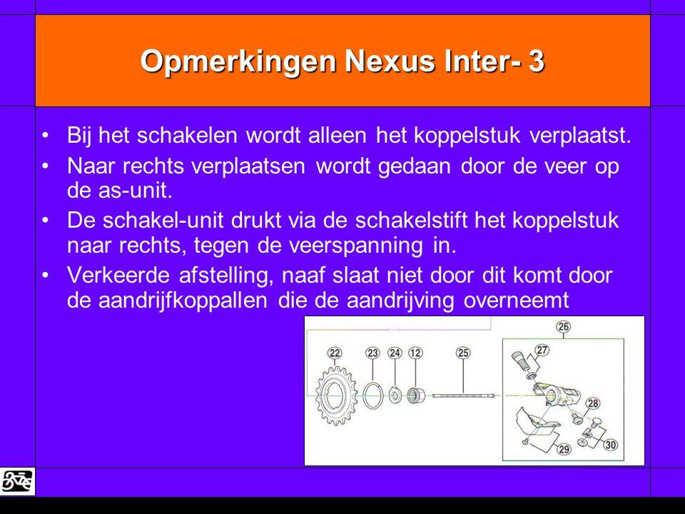 Opmerkingen Nexus Inter- 3 •Bij het schakelen wordt alleen het koppelstuk verplaatst. •Naar rechts verplaatsen wordt gedaan door de veer op de as-unit