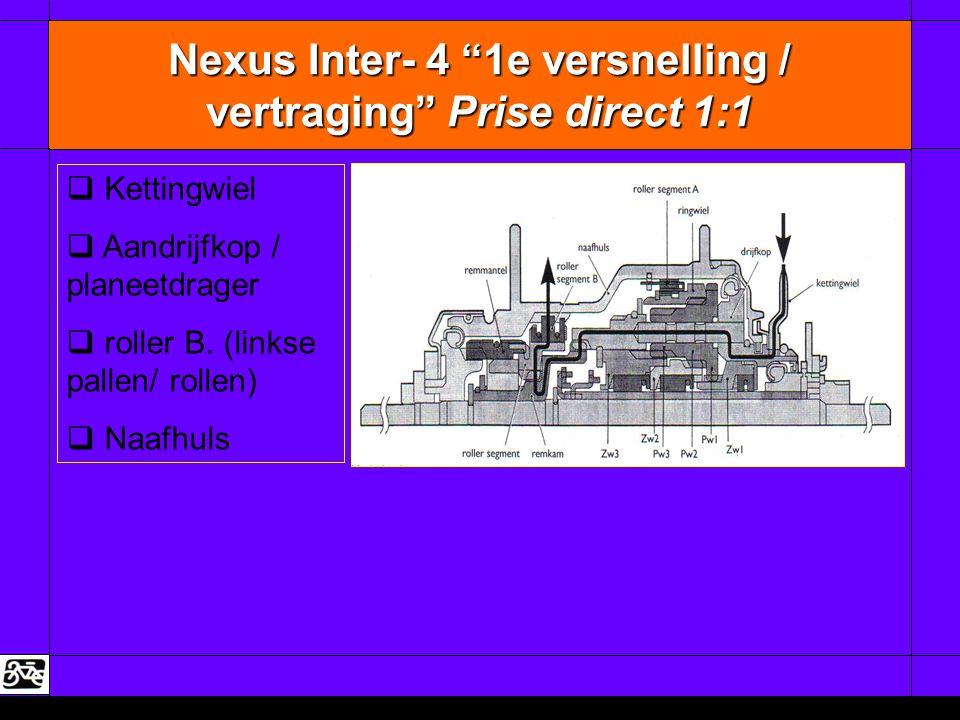 """Nexus Inter- 4 """"1e versnelling / vertraging"""" Prise direct 1:1   Kettingwiel   Aandrijfkop / planeetdrager   roller B. (linkse pallen/ rollen) """