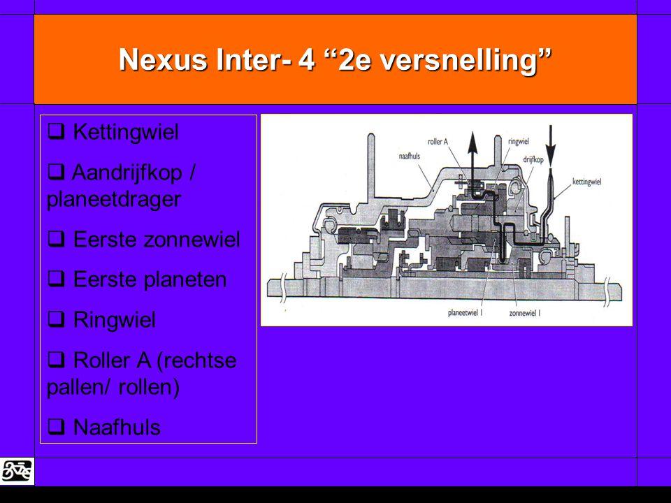 "Nexus Inter- 4 ""2e versnelling""   Kettingwiel   Aandrijfkop / planeetdrager   Eerste zonnewiel   Eerste planeten   Ringwiel   Roller A (re"