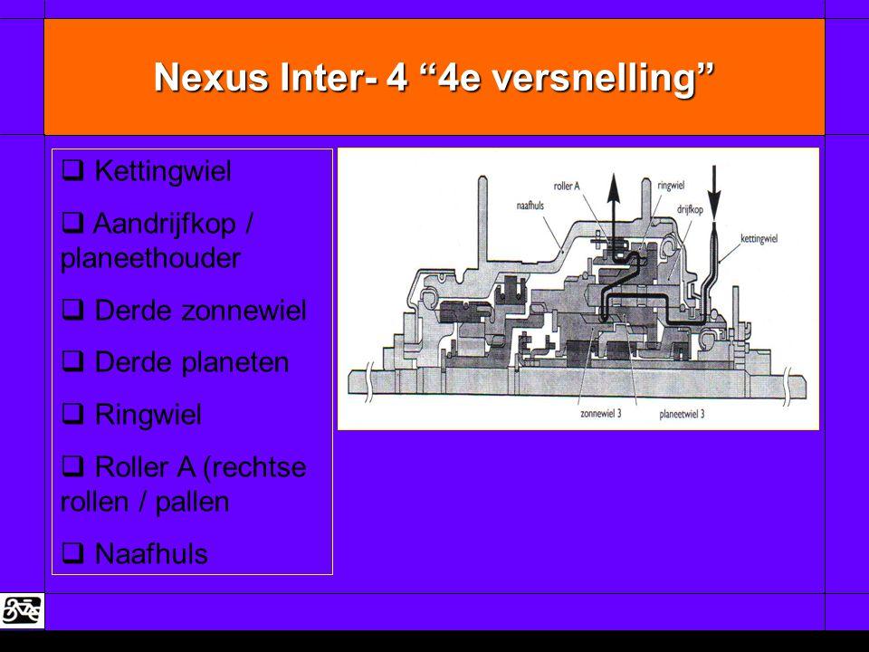 """Nexus Inter- 4 """"4e versnelling""""   Kettingwiel   Aandrijfkop / planeethouder   Derde zonnewiel   Derde planeten   Ringwiel   Roller A (rech"""
