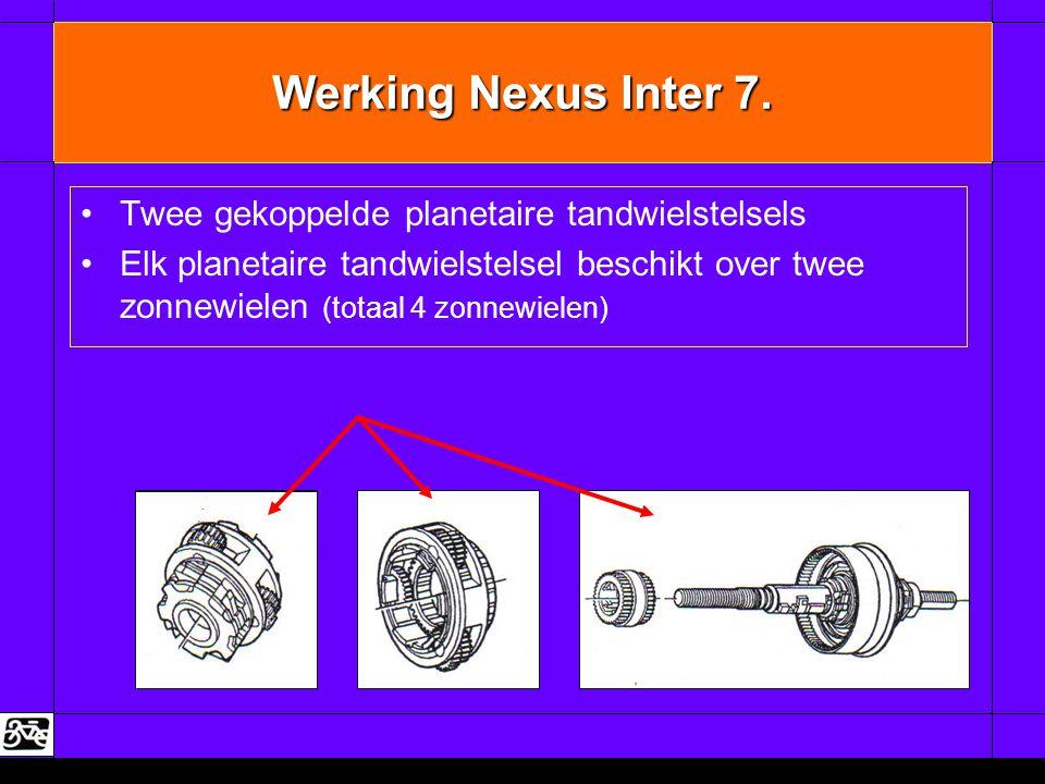 Werking Nexus Inter 7. •Twee gekoppelde planetaire tandwielstelsels •Elk planetaire tandwielstelsel beschikt over twee zonnewielen (totaal 4 zonnewiel