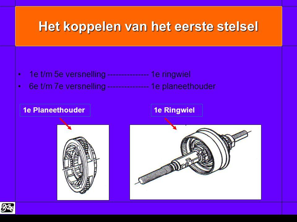 Het koppelen van het eerste stelsel •1e t/m 5e versnelling --------------- 1e ringwiel •6e t/m 7e versnelling --------------- 1e planeethouder 1e Plan