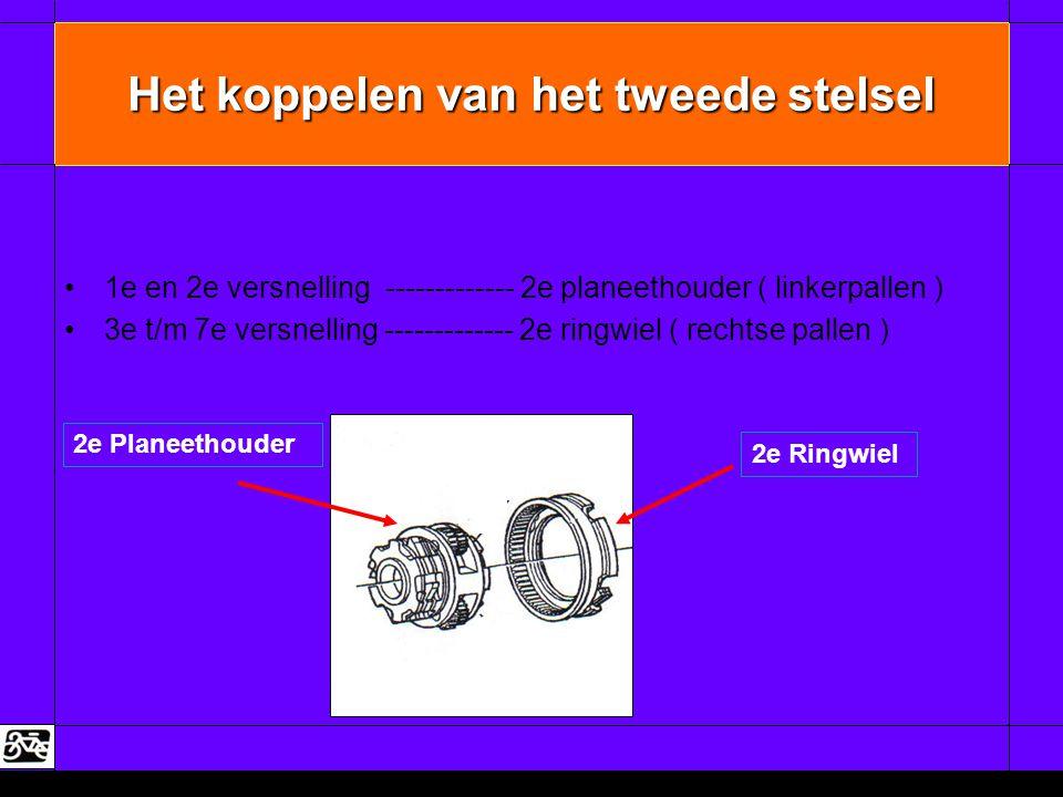 Het koppelen van het tweede stelsel •1e en 2e versnelling ------------- 2e planeethouder ( linkerpallen ) •3e t/m 7e versnelling ------------- 2e ring