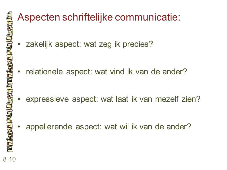 Aspecten schriftelijke communicatie: 8-10 •zakelijk aspect: wat zeg ik precies? •relationele aspect: wat vind ik van de ander? •expressieve aspect: wa