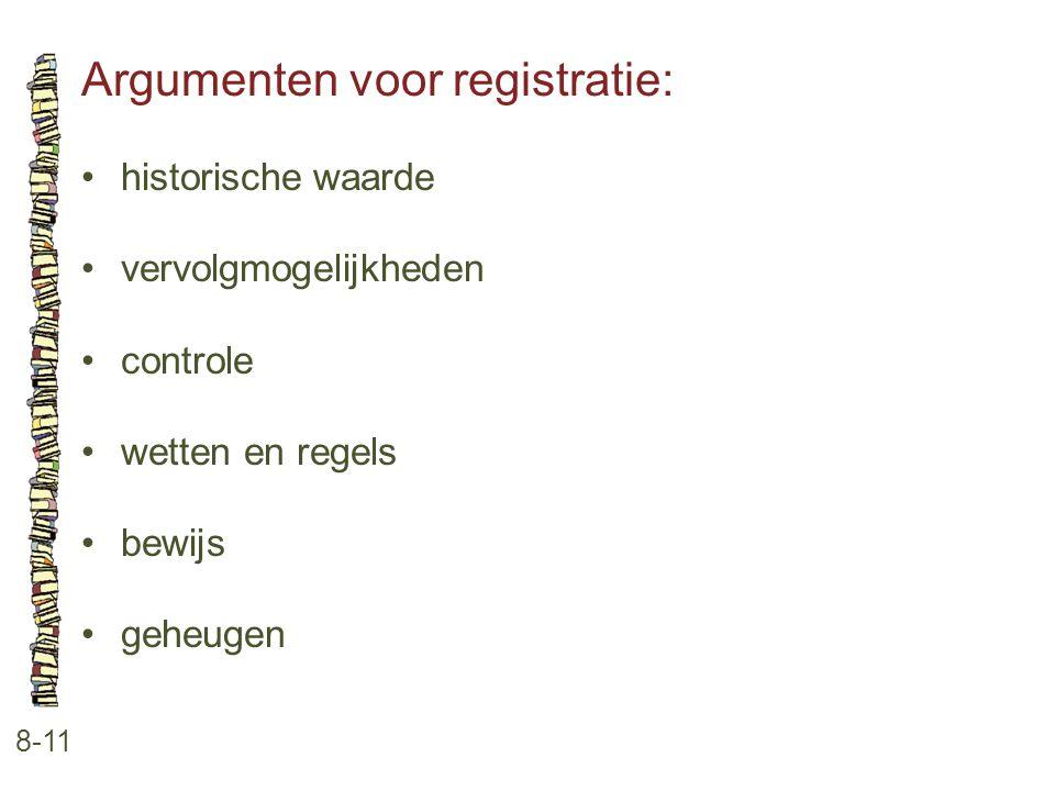 Argumenten voor registratie: 8-11 •historische waarde •vervolgmogelijkheden •controle •wetten en regels •bewijs •geheugen