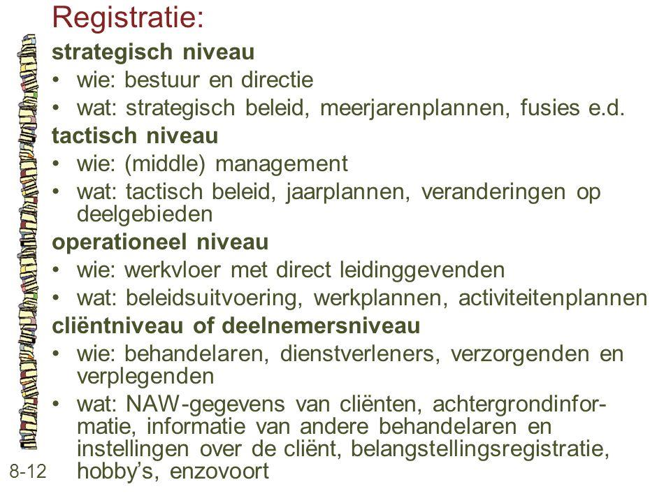 Registratie: 8-12 strategisch niveau •wie: bestuur en directie •wat: strategisch beleid, meerjarenplannen, fusies e.d. tactisch niveau •wie: (middle)