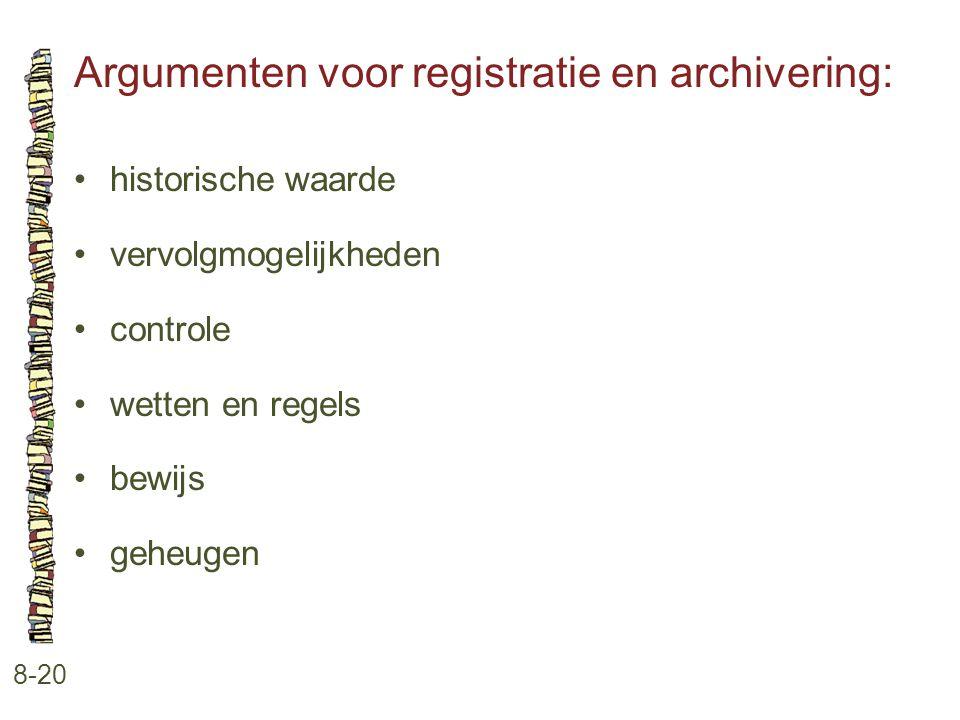 Argumenten voor registratie en archivering: 8-20 •historische waarde •vervolgmogelijkheden •controle •wetten en regels •bewijs •geheugen