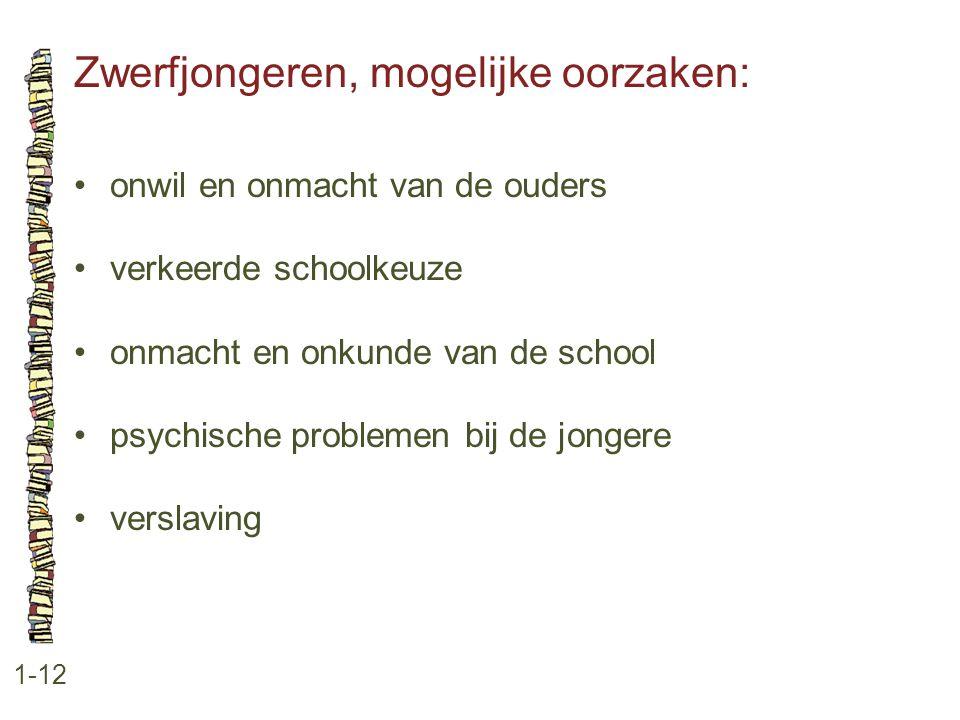 Zwerfjongeren, mogelijke oorzaken: 1-12 •onwil en onmacht van de ouders •verkeerde schoolkeuze •onmacht en onkunde van de school •psychische problemen