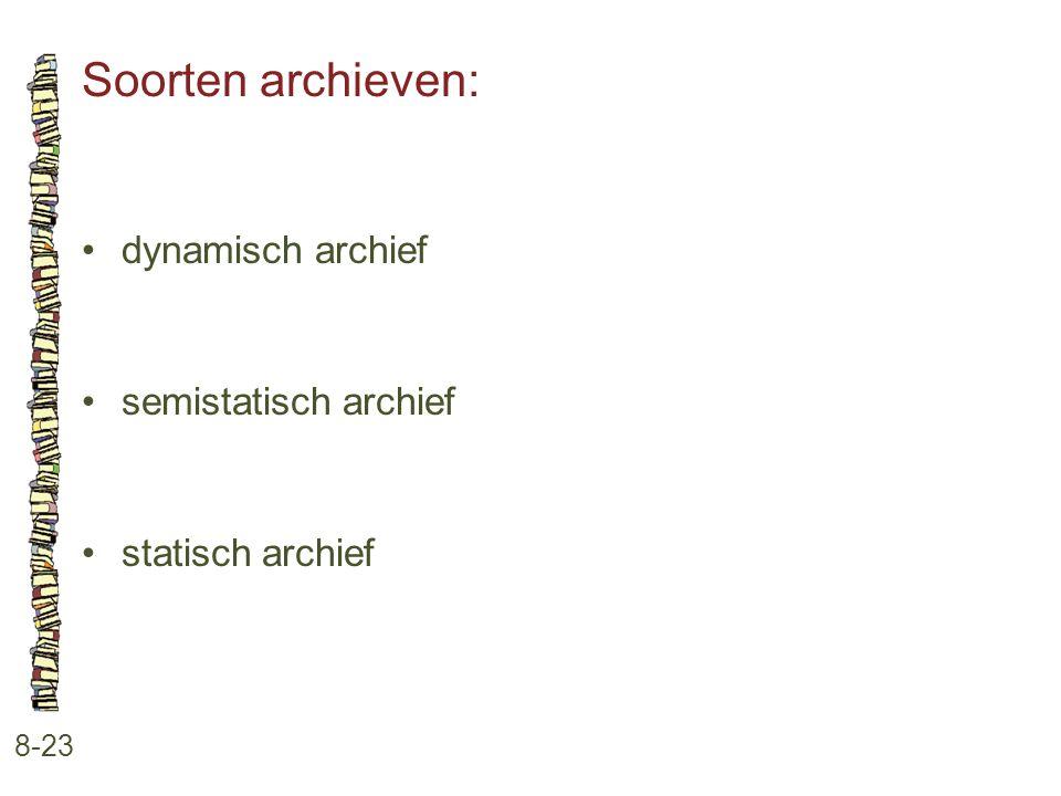 Soorten archieven: 8-23 •dynamisch archief •semistatisch archief •statisch archief