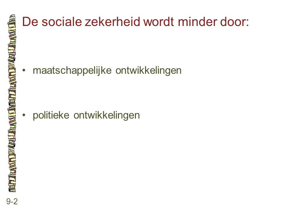 De sociale zekerheid wordt minder door: 9-2 •maatschappelijke ontwikkelingen •politieke ontwikkelingen