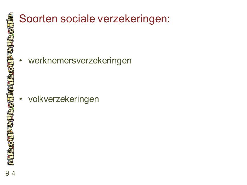 Soorten sociale verzekeringen: 9-4 •werknemersverzekeringen •volkverzekeringen