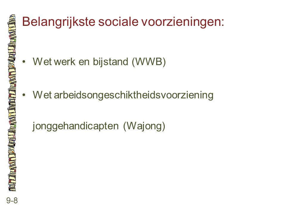 Belangrijkste sociale voorzieningen: 9-8 •Wet werk en bijstand (WWB) •Wet arbeidsongeschiktheidsvoorziening jonggehandicapten (Wajong)