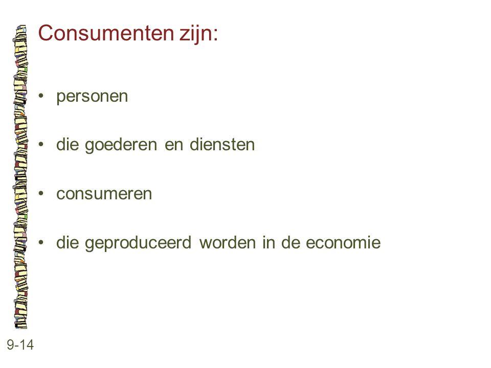 Consumenten zijn: 9-14 •personen •die goederen en diensten •consumeren •die geproduceerd worden in de economie