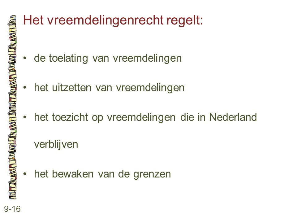 Het vreemdelingenrecht regelt: 9-16 •de toelating van vreemdelingen •het uitzetten van vreemdelingen •het toezicht op vreemdelingen die in Nederland v