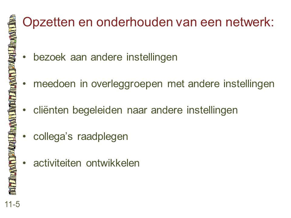 Opzetten en onderhouden van een netwerk: 11-5 •bezoek aan andere instellingen •meedoen in overleggroepen met andere instellingen •cliënten begeleiden