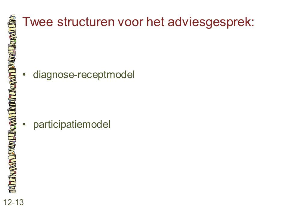 Twee structuren voor het adviesgesprek: 12-13 •diagnose-receptmodel •participatiemodel