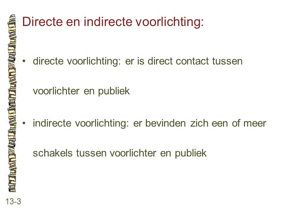 Directe en indirecte voorlichting: 13-3 •directe voorlichting: er is direct contact tussen voorlichter en publiek •indirecte voorlichting: er bevinden