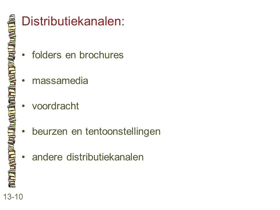 Distributiekanalen: 13-10 •folders en brochures •massamedia •voordracht •beurzen en tentoonstellingen •andere distributiekanalen
