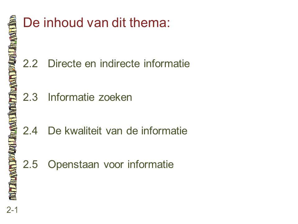 De inhoud van dit thema: 2-1 2.2Directe en indirecte informatie 2.3Informatie zoeken 2.4De kwaliteit van de informatie 2.5Openstaan voor informatie