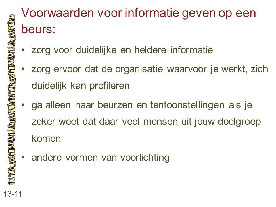 Voorwaarden voor informatie geven op een beurs: 13-11 •zorg voor duidelijke en heldere informatie •zorg ervoor dat de organisatie waarvoor je werkt, z