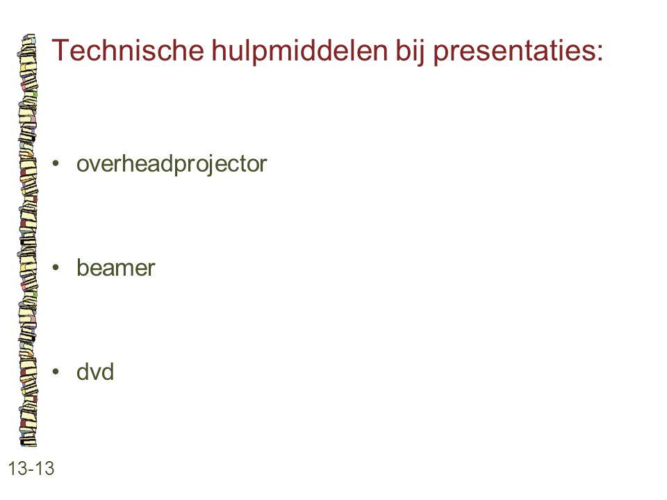 Technische hulpmiddelen bij presentaties: 13-13 •overheadprojector •beamer •dvd