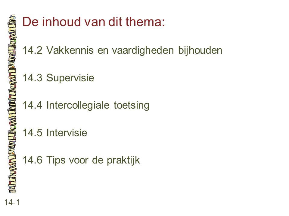 De inhoud van dit thema: 14-1 14.2Vakkennis en vaardigheden bijhouden 14.3Supervisie 14.4Intercollegiale toetsing 14.5Intervisie 14.6Tips voor de prak
