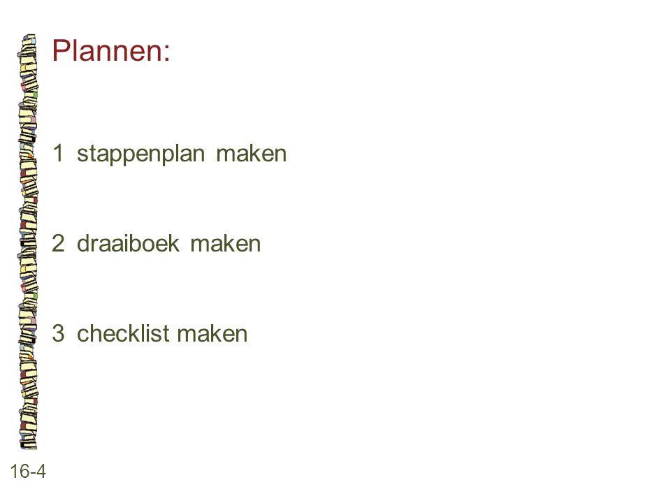 Plannen: 16-4 1stappenplan maken 2draaiboek maken 3checklist maken