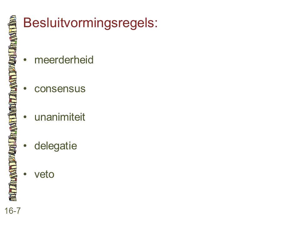 Besluitvormingsregels: 16-7 •meerderheid •consensus •unanimiteit •delegatie •veto