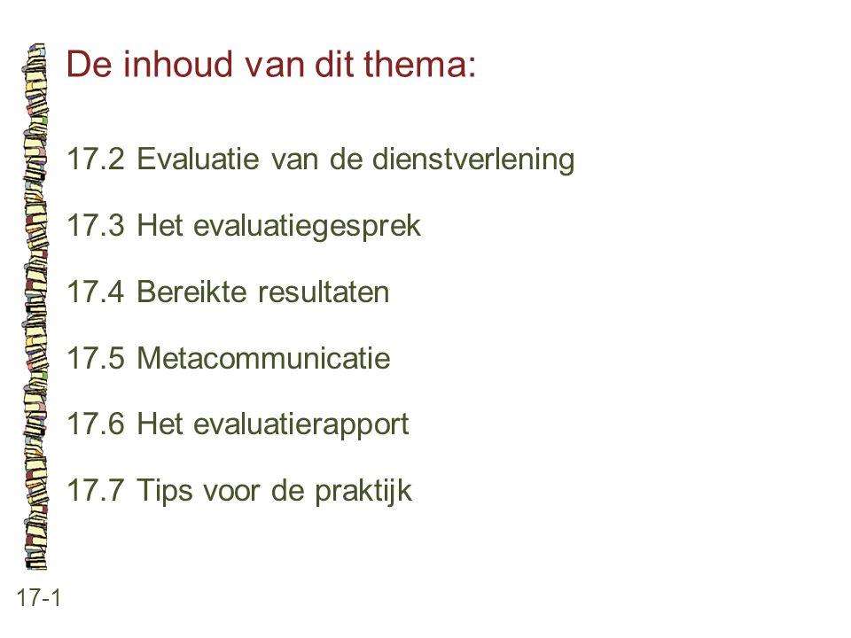 De inhoud van dit thema: 17-1 17.2Evaluatie van de dienstverlening 17.3Het evaluatiegesprek 17.4Bereikte resultaten 17.5Metacommunicatie 17.6Het evalu