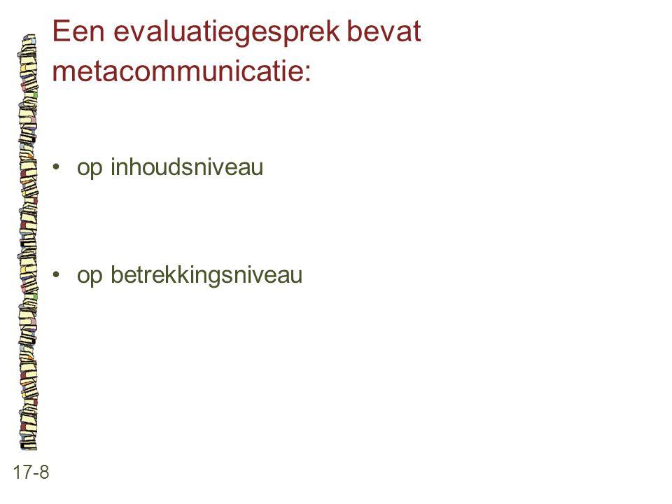 Een evaluatiegesprek bevat metacommunicatie: 17-8 •op inhoudsniveau •op betrekkingsniveau