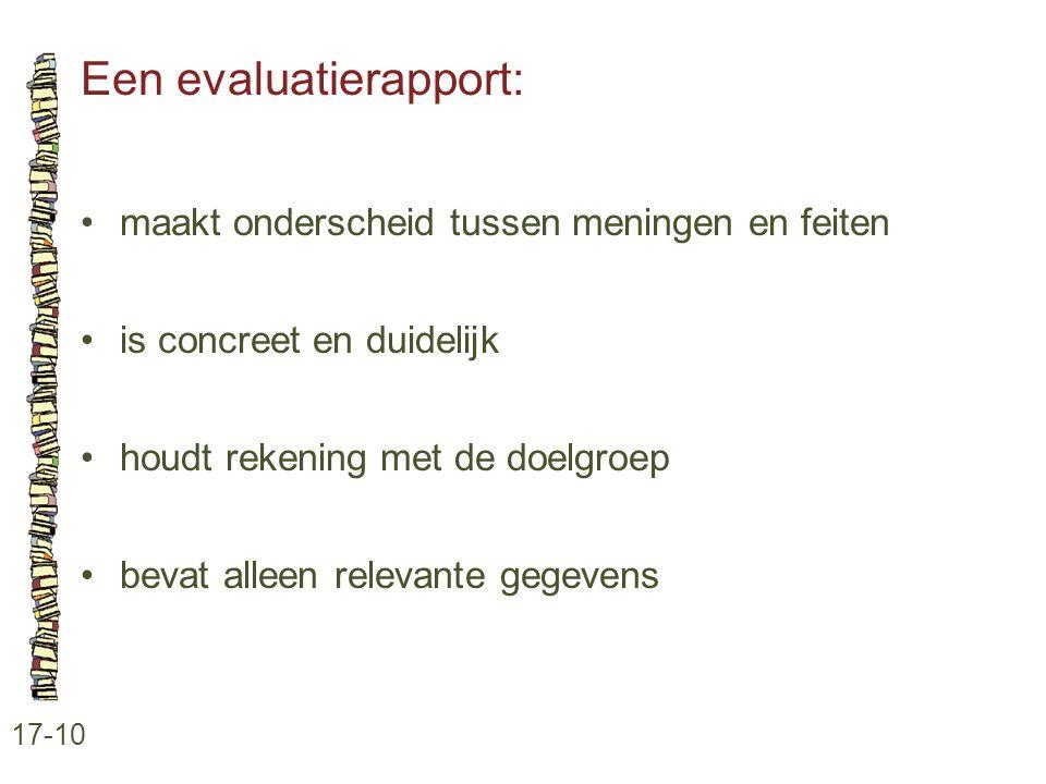 Een evaluatierapport: 17-10 •maakt onderscheid tussen meningen en feiten •is concreet en duidelijk •houdt rekening met de doelgroep •bevat alleen rele