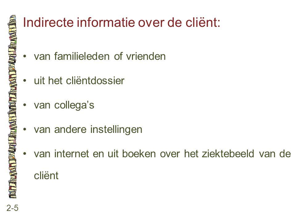 Indirecte informatie over de cliënt: 2-5 •van familieleden of vrienden •uit het cliëntdossier •van collega's •van andere instellingen •van internet en