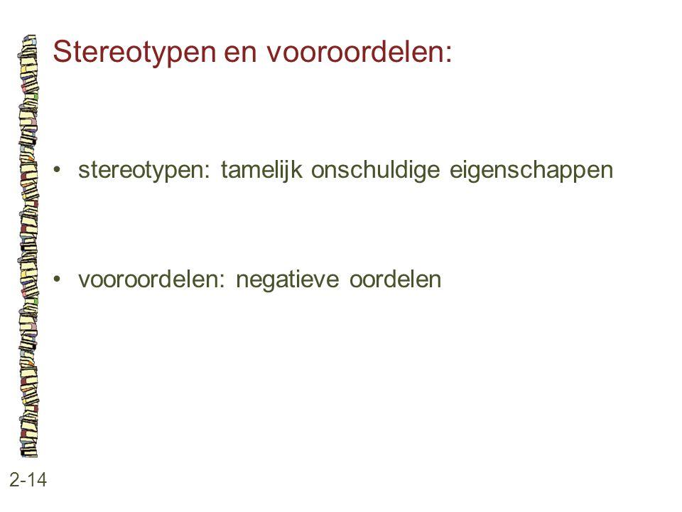 Stereotypen en vooroordelen: 2-14 •stereotypen: tamelijk onschuldige eigenschappen •vooroordelen: negatieve oordelen