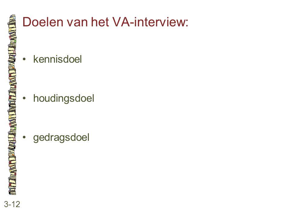 Doelen van het VA-interview: 3-12 •kennisdoel •houdingsdoel •gedragsdoel