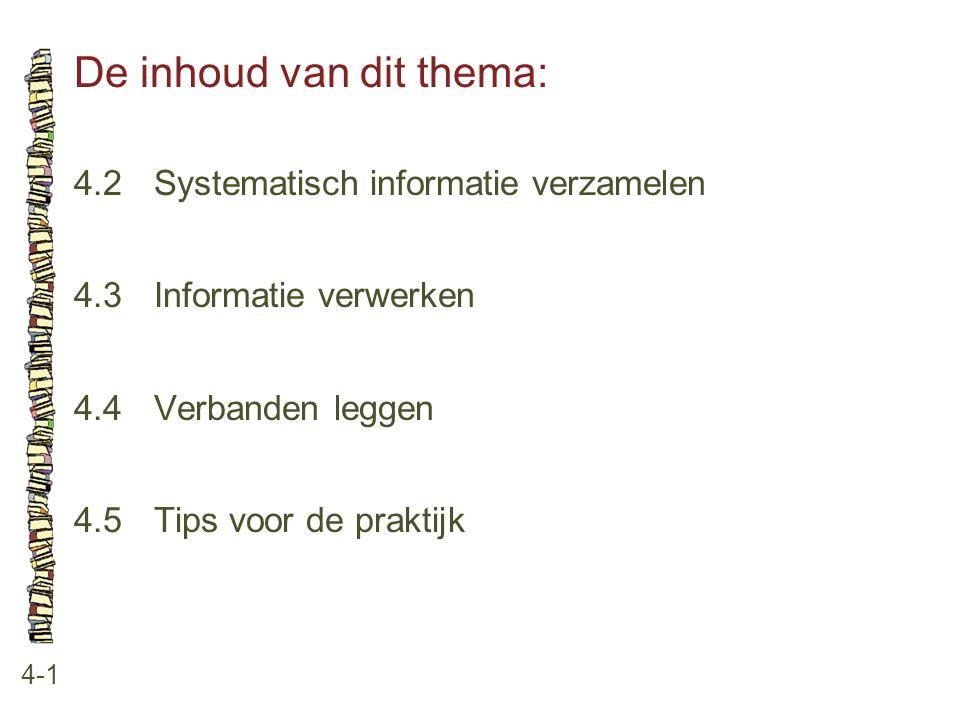 De inhoud van dit thema: 4-1 4.2Systematisch informatie verzamelen 4.3Informatie verwerken 4.4Verbanden leggen 4.5Tips voor de praktijk