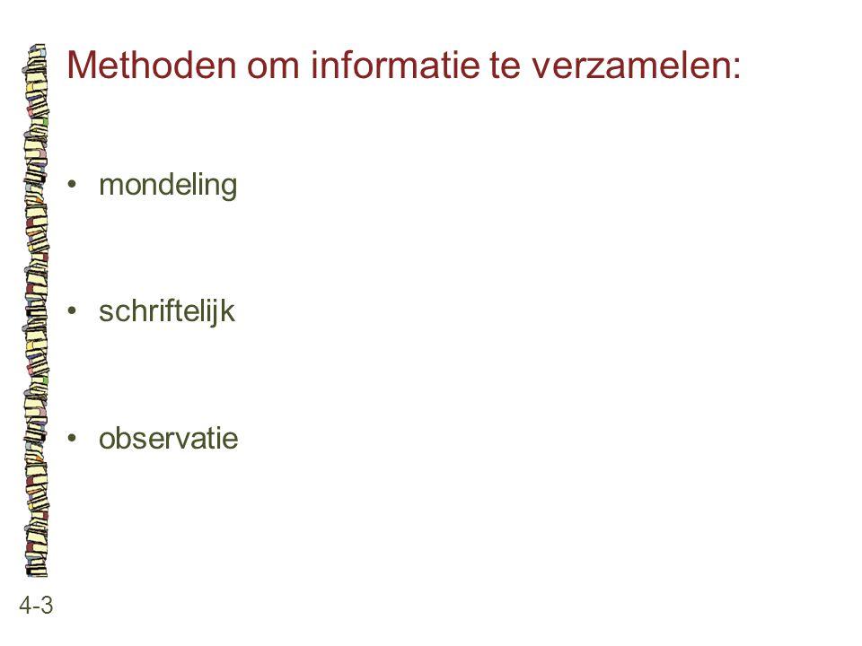 Methoden om informatie te verzamelen: 4-3 •mondeling •schriftelijk •observatie