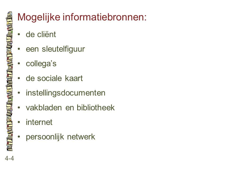 Mogelijke informatiebronnen: 4-4 •de cliënt •een sleutelfiguur •collega's •de sociale kaart •instellingsdocumenten •vakbladen en bibliotheek •internet