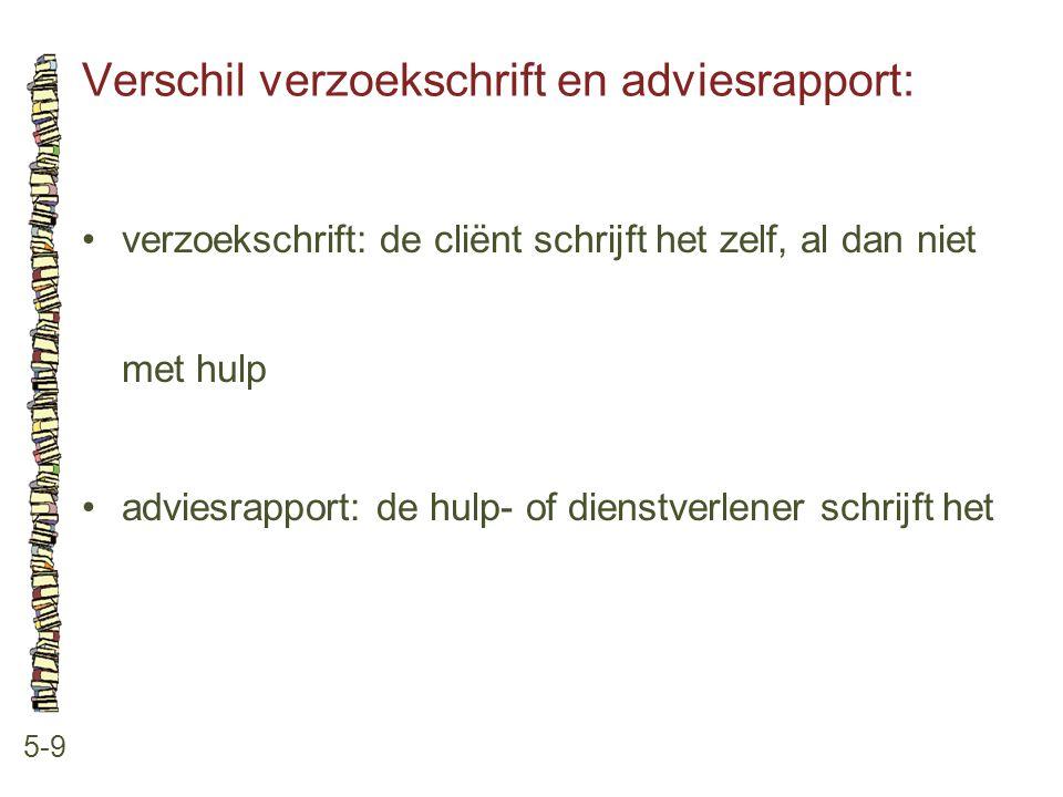 Verschil verzoekschrift en adviesrapport: 5-9 •verzoekschrift: de cliënt schrijft het zelf, al dan niet met hulp •adviesrapport: de hulp- of dienstver
