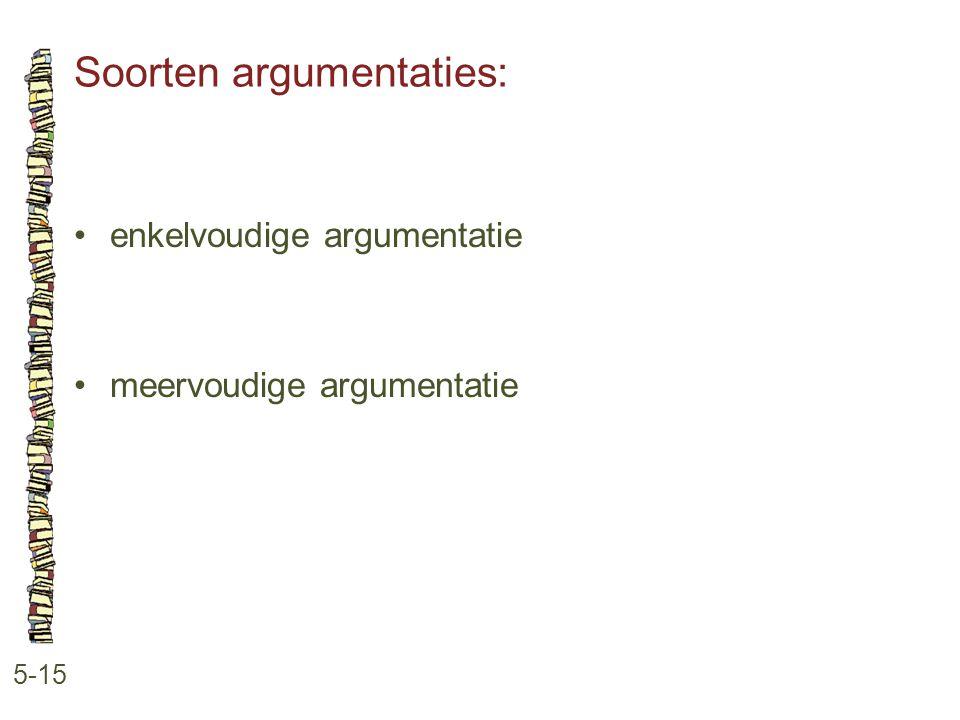 Soorten argumentaties: 5-15 •enkelvoudige argumentatie •meervoudige argumentatie
