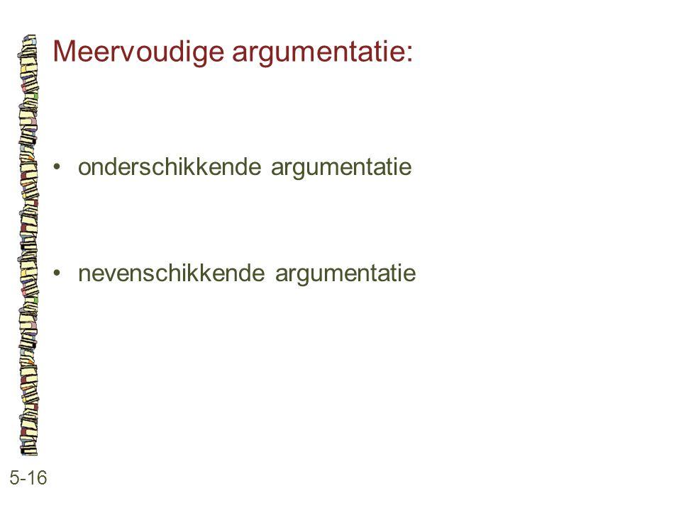 Meervoudige argumentatie: 5-16 •onderschikkende argumentatie •nevenschikkende argumentatie