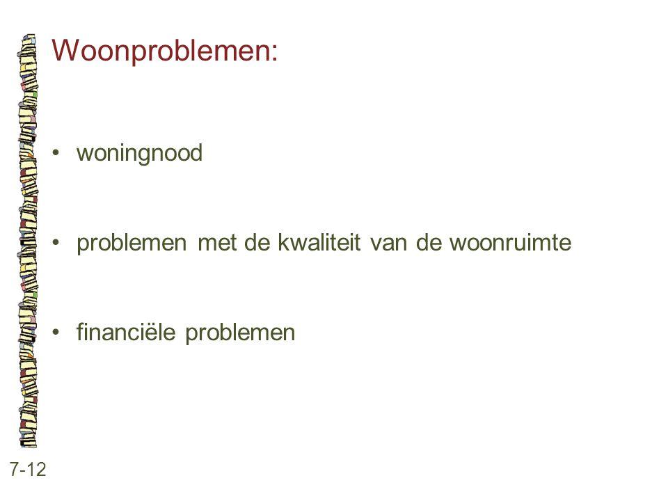 Woonproblemen: 7-12 •woningnood •problemen met de kwaliteit van de woonruimte •financiële problemen