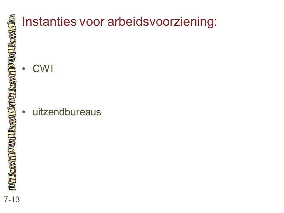 Instanties voor arbeidsvoorziening: 7-13 •CWI •uitzendbureaus