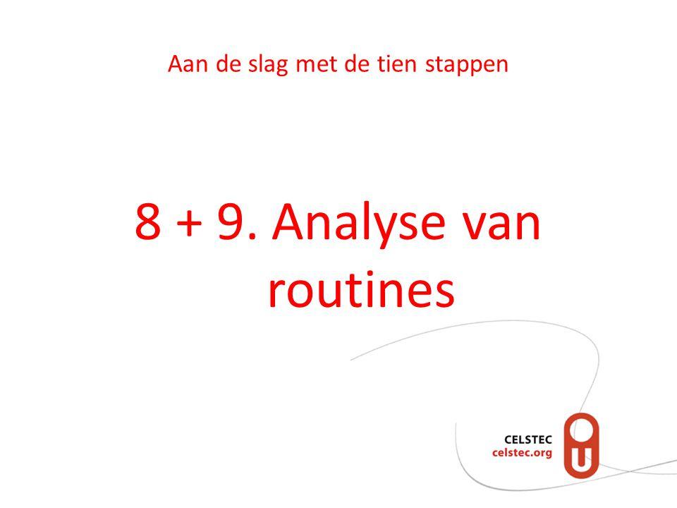 Aan de slag met de tien stappen 8 + 9. Analyse van routines